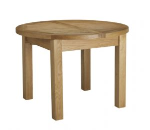 Charltons Bretagne Solid Oak Round Butterfly Extending Dining Table